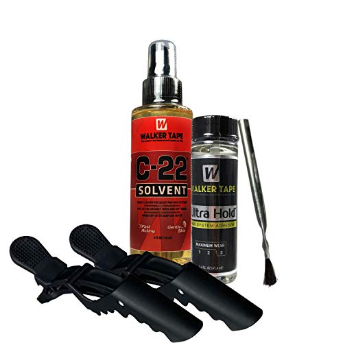 C22 Citrus Solvent 4oz and Ultra Hold Hair System Adhesive 1.4oz with 2pcs Hair Clip Saver Bundle Pack | Safe on skin | Long Lasting Hold with Fast Action Adhesive Remover | Salon Parlor Personal Use