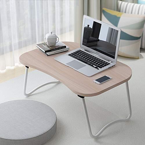 SEESEE.U Notebook Laptop Schreibtisch Bett Sofa Tisch Tragbare Faltbare Multifunktions Studentenwohnheim Lernen 3 Farben 60x40x28 cm (Farbe: Weiß ahorn Farbe)