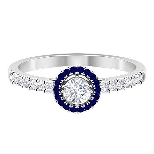 Anillo de compromiso Art Deco, anillo de diamante solitario HI-SI de 1/2 quilates, anillo de boda halo, anillo de zafiro azul, 18K Oro blanco, Size:EU 69