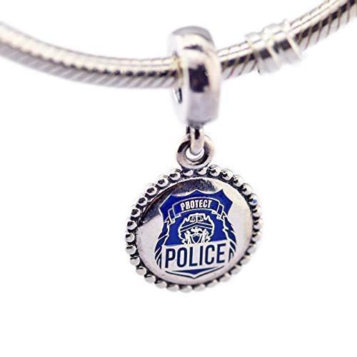 LIJIAN DIY 925 Sterling Jewelry Charm Beads Blue Enamel Police Dangle Europe Hacer Originales Pandora Collares Pulseras Y Tobilleras Regalos para Mujeres