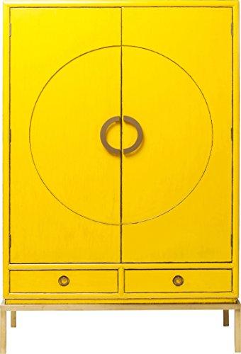 Kare Design Disk Yellow, Kleiderschrank, Hochkommode, Holzschrank, Schrank mit 2 Türen und 2 Schubladen für Wohnzimmer, (H/B/T) 180x120x55cm, Holz, Gelb, (55 x 120 x 180 cm