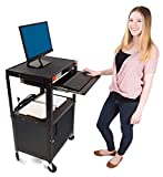 Line Leader AV Cart with Locking Cabinet and Drop Leaves | Height Adjustable Utility Cart with Extra...