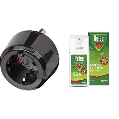 Brennenstuhl 1508460 Adaptador Internacional para Sudáfrica y India, Color Negro + Relec Extra Fuerte Spray Antimosquitos   Repelente de Mosquitos