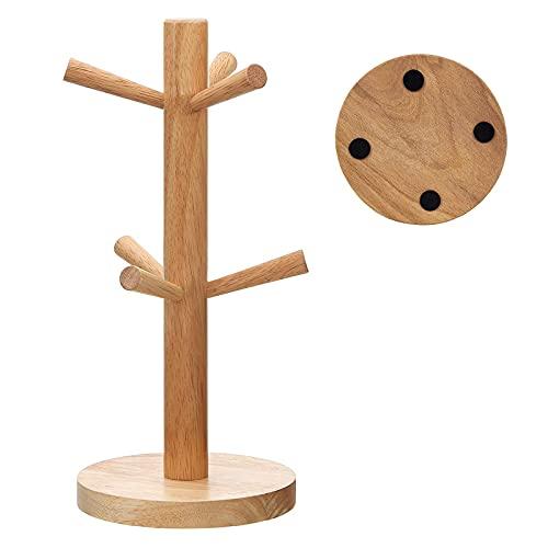 JUHONNZ Soporte para tazas, soporte de madera para brezel, soporte para vasos, soporte para tazas de desayuno, para encimeras de cocina