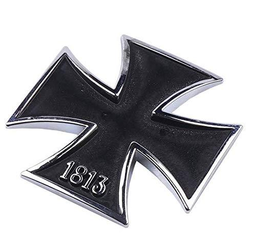 Shop of Wonder© - Adhesivo de Metal 3D Color Negro con Cruz de Hierro 1813, Ideal para su vehículo, Uso Universal en un tamaño de 6 cm