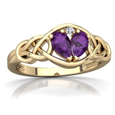 14K Yellow Gold Amethyst and Diamond Pear Celtic Love Knot Ring - Size 6