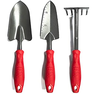 Vaupan Garden Tool Set, 3 Pack Garden Hand Shovels Garden Trowels with Ergonomic Rubberized Non-Slip Grip, Included Trowel, Transplant Trowel and Cultivator Hand Rake