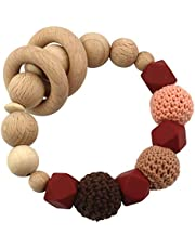 Elefantasie Sonajero prémium de madera y silicona, modelo con cuentas de ganchillo, varios colores