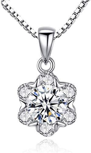 Stijlvolle eenvoud duidelijk zirkonia delicate hanger met doos ketting vrouwen bloem ketting kristallen ketting sieraden geschenk, N-J 1