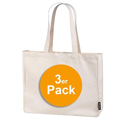 3er Pack stabile 300 g/m² Einkaufstasche aus Bio-Baumwolle in Premium-Qualität Jutebeutel Tragetasche Stoffbeutel Shopper (3)