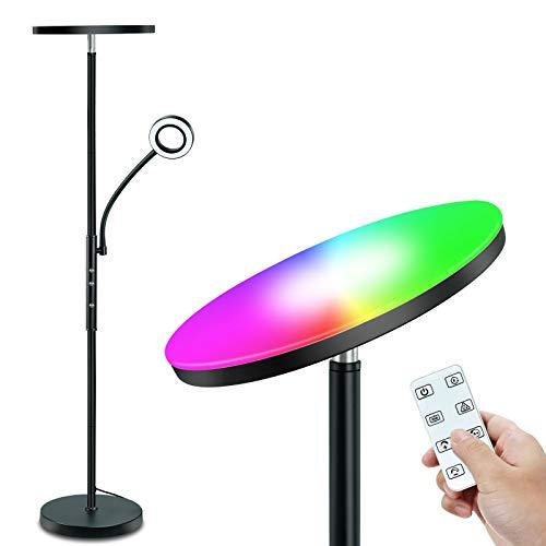 STASUN RGB Lámpara de pie LED, Luz de Pie Regulable, Con control remoto y táctil, Luz Principal de 20W con Modo RGB y Luz lateral con Lectura Ajustable de 5W, para Sala de Estar, Dormitorio, Oficina