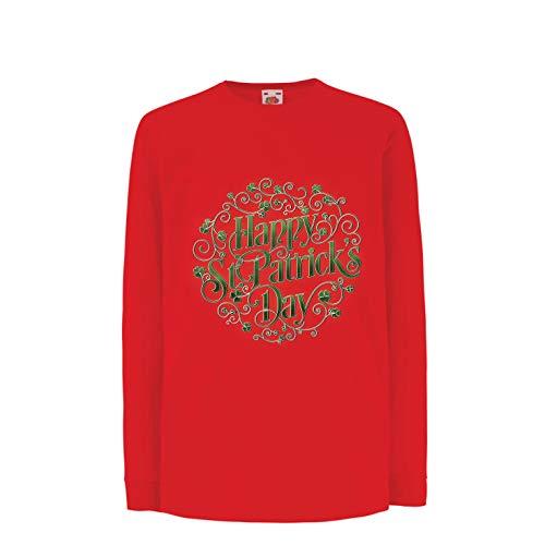 lepni.me Camiseta para Niño/Niña Happy Saint Patrick's Day - Shamrock Luck of The Irish (3-4 Years Rojo Multicolor)
