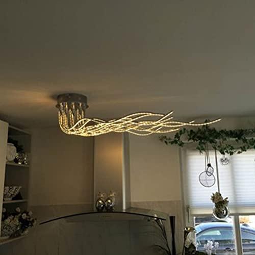 Moderna lámpara de techo LED para salón, regulable, 10 focos, ajustable, giratoria, para dormitorio, cocina, comedor, cromado, con mando a distancia