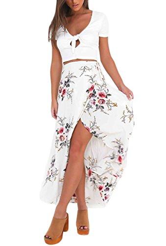 Frauen Maxirock Young Fashion Rock Skirts Tailliert Irregular Geöffnete Gabel Blumendrucken Rosenmuster Party Stil Young Fashion Sommerkleider Weiß Mädchen (Color : Weiß, Size : M)