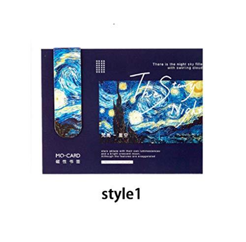 1 Pz Segnalibri magnetici creativi Van Gogh Letteratura Serie d'arte Libri di decorazione fai-da-te segnare Pagina Articoli di cancelleria Forniture per ufficio per studenti, style1