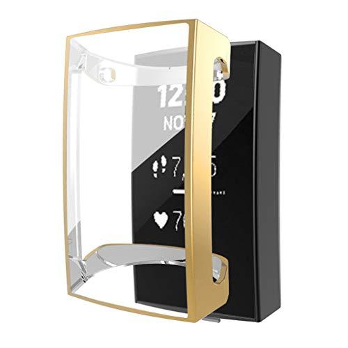Hülle Displayschutz für Fitbit Charge 3, Colorful Ultra dünn TPU Case Schutz Stoßstange Abdeckung Schutzhülle Schlankes Case für Fitbit Charge 3 Gesundheits und Fitness-Tracker (Gold)