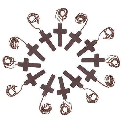 FAVOMOTO 12 Pcs Colar de Cruz de Madeira Jesus Cristo Colar de Pingente de Cruz Esperança Acreditar Colar Pingente de Joias Religiosas Presente para Homens