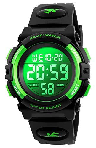 Kid Watch for Boy Girl Child Multi Function Digital LED Sport 50M Waterproof Electronic Analog Quartz Watches Gift (Black/Green)