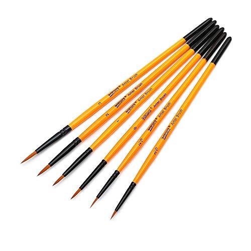 PSG Pinsel, Pinsel Pinsel 6PCS Miniatur-Detail Pinsel Set Feinste Qualitäts-weiche Bürsten-Feder-Acryl Aquarell Öl Zeichnung Modell Flugzeug Kits Nail (Color : 6pcs Set)