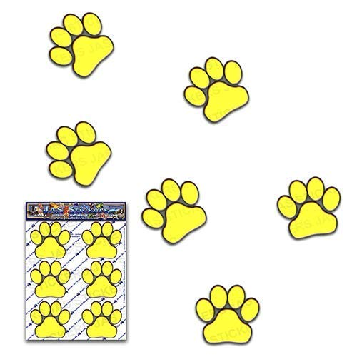 JAS Stickers® ANIMAL PAW PRINTS CAR DECALS - Yellow - Pet Cat Dog Small Vinyl Stickers Pack For Laptop Luggage Bicycle Bike Caravans Van Camper Trucks & Boats - ST002YW_1