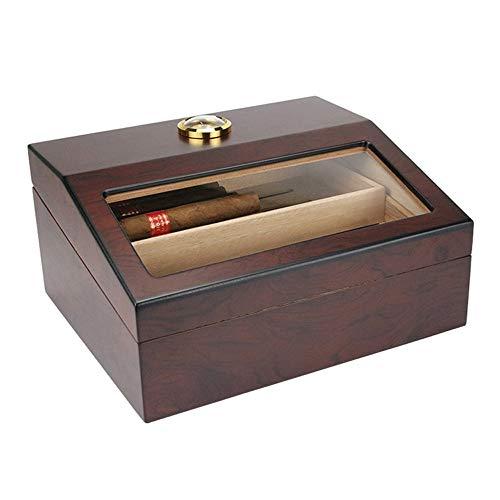 FxsD Zigarrenschachtel, Zedernholz ausgekleideten Zigarren-Humidor, transparentes Glasdach, Klavier Farbe Textur, große Kapazität Double-Layer-Speicher Zigarre Vitrine mit Hygrometer und Befeuchter ##