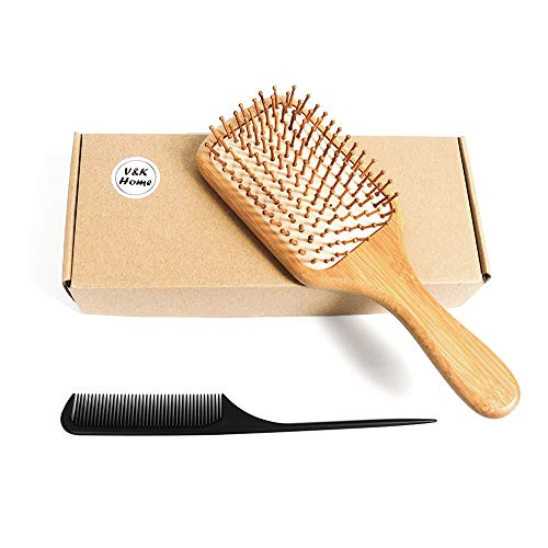 Hairbrush, Wooden Bamboo Hair Brush For Women Men, Thick Thin Curly Hair, Premium Paddle Pins and Rubber, Air Cushion Softly Massage and Relax Your Scalp, Detangling