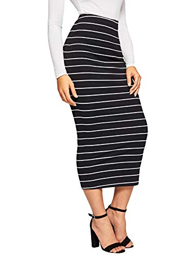 SheIn Women's Striped Elastic Waist Ribbed Knit Bodycon Pencil Skirt