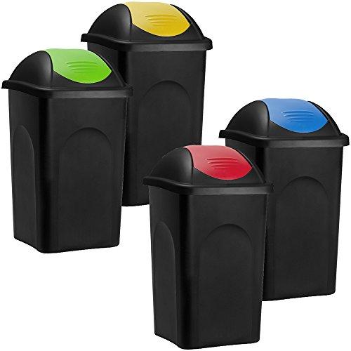 Deuba Stefanplast 4X 60L Set Abfalleimer mit Schwingdecke Mülleimer 68 x 41 x 41cm Abfallbehälter Mülltrennsystem