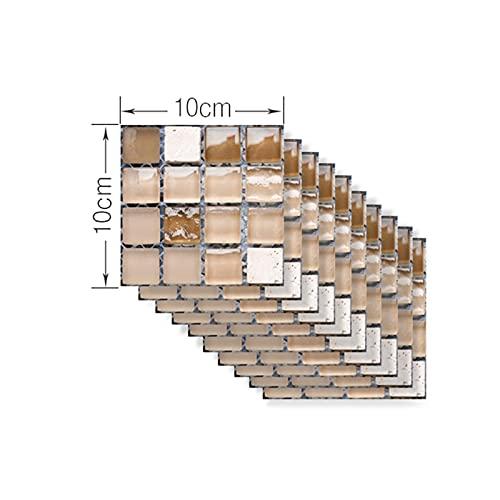 LOEMWJ Vinilos Ladrillo DIY Cocina BAÑO Comercio Pegatina de azulejo 50pcs / Set Vintage Mosaic Mosaic Tile Pegatina Etiqueta Afermeable Calcomanías de Piso Autoadhesivo (Color : H, Size : 10x10cm)