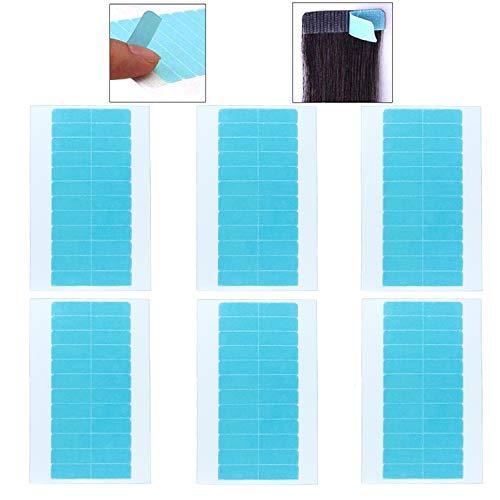 Ersatztapes Klebestreifen für Tape In Hair Extensions, Doppelseitiges Klebekraft Haar Klebeband für Haarverlängerungen Perücken (Blau, 60 Stück)