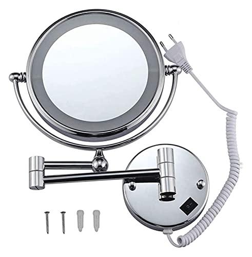 Espejo Maquillaje de Aumento 10X / 1X con luz LED Montado en la Pared Doble Cara 8.5 Pulgadas 360º Giratorio Extensible para baño, SPA y Espejo de Maquillaje de Hotel