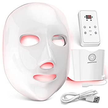 Dermashine Pro 7 Color Wireless LED Face Mask with Neck Attachment | Photon Red Light For Healthy Skin Rejuvenation Therapy | Collagen Anti Aging Wrinkles | Korean Skin Care Facial Skin Care Mask