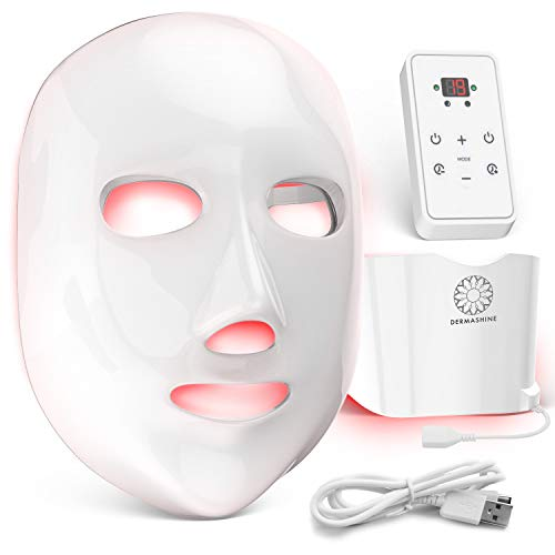 Dermashine Pro 7 Color Wireless LED Face Mask with Neck Attachment | Photon Red Light For Healthy Skin Rejuvenation Therapy | Collagen, Anti Aging, Wrinkles | Korean Skin Care, Facial Skin Care Mask
