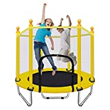 KAMOERS Trampoline for Kids, 55'' Trampoline for Toddlers with Safety Enclosure Net, Spring Pad, Combo Bounce Jump Trampoline, Indoor Trampoline for Children, Boys Girls Birthday Gifts