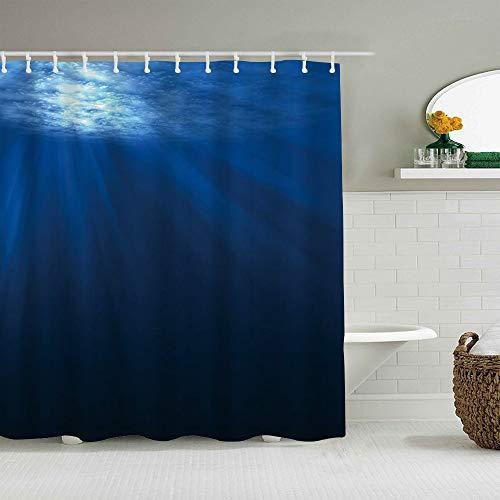 CVSANALA Duschvorhang,Ozeanblaues Unterwasser-Lebenslicht,personalisierte Deko Badezimmer Vorhang,mit Haken,180 * 180