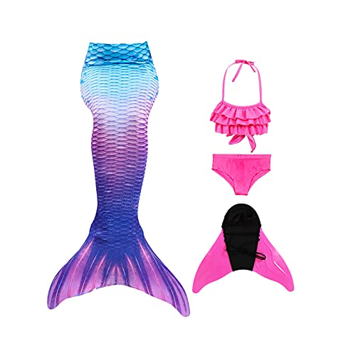 Shinyeagle 4 Pack Cola de Sirena Niña para Nadar,Traje de baño de Princesa con Cola de Sirena, Incluye Bikini y Aletas de Sirena (120-130)