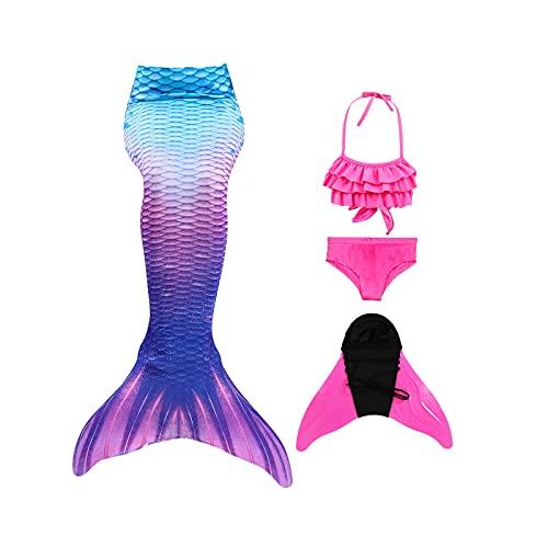 Shinyeagle 4 Pack Cola de Sirena Niña para Nadar,Traje de baño de Princesa con Cola de...