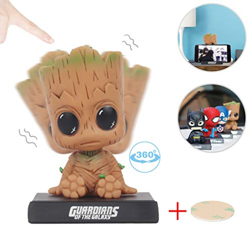 Coolgu Superhero Marvel-Hero Cartoon Cute Model Collectible Toy, Car Decoration Mobile Phone Holder Dashboard/ Office Home Accessories /Holiday Decoration/ Bobblehead Doll Kid's Gift (Groot)