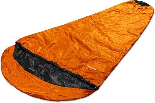 normani Schlafsacküberzug Biwaksack - 100% Wind- und wasserdicht, Atmungsaktivität: 3000 MVP [230 cm x 90 cm] Farbe Orange Größe 230 x 90 x 60 cm - RV Links