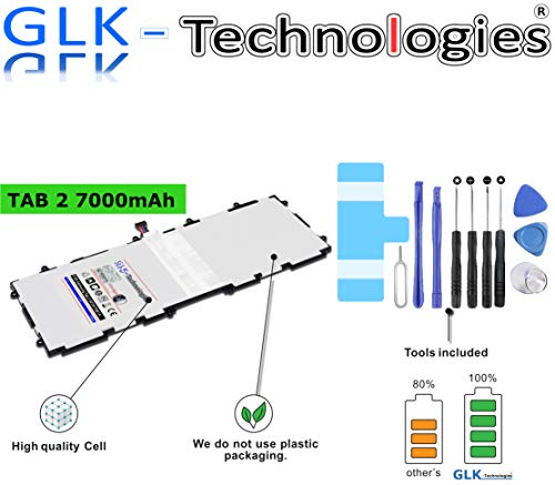 High Power Ersatzakku für Samsung GT-7511 Galaxy Tab 2 (10.1) P5100 P5110, SP3676B1A | Original GLK-Technologies Battery | accu | 7000 mAh Akku | inkl. Werkzeug Set Kit 2020 B.j