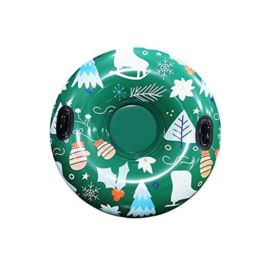 xuew Snow-Tube, Rund aufblasbare Schlitten mit Griffen PVC-Material Lustige Inflatable Zubehör für Outdoor Sport Grün