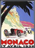 ポスター ロバート ファルクッチ モナコグランプリ 1932年 額装品 アルミ製ベーシックフレーム(ブラック)