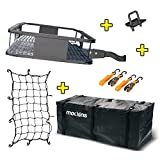 """Mockins Steel Cargo Basket   60"""" L X 24"""" W X 6"""" H Hitch Mount Cargo Carrier with Cargo Bag and Net   with a Hauling Weight of 500 lbs & a Folding Arm to Preserve Space When Not in Use"""