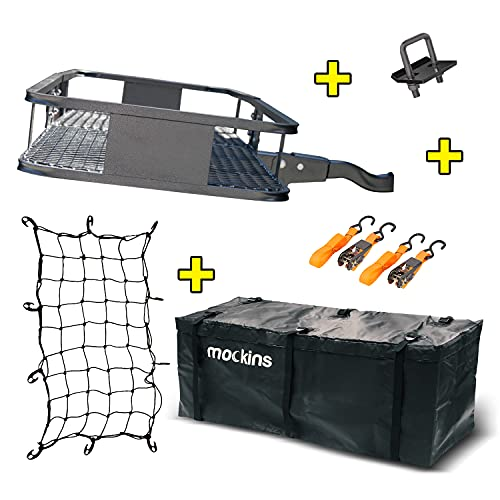 Mockins Steel Cargo Basket   60' L X 24' W X 6' H Hitch Mount Cargo Carrier with Cargo Bag and Net   with a Hauling Weight of 500 lbs & a Folding Arm to Preserve Space When Not in Use