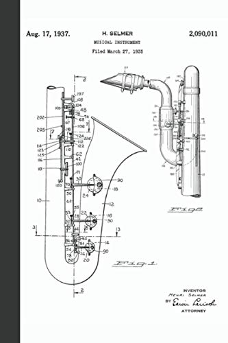 Saxophone Musical Instrument: Vintage Saxophone Patent Art Music Sheet Notebook for Saxophonists and Fans of Music