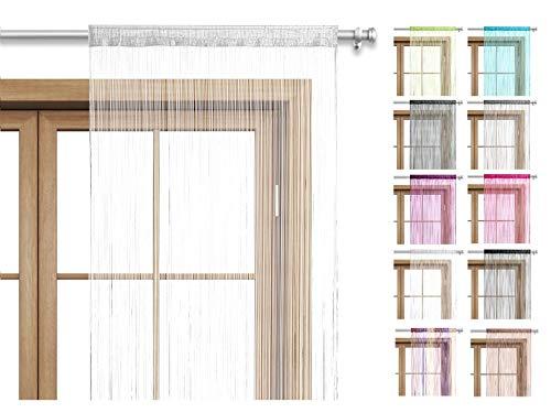 wometo Fadenvorhang Türvorhang Fäden 90x245 cm weiß - Stangendurchzug OekoTex kürzbar waschbar Uni einfarbig in vielen bunten Farben