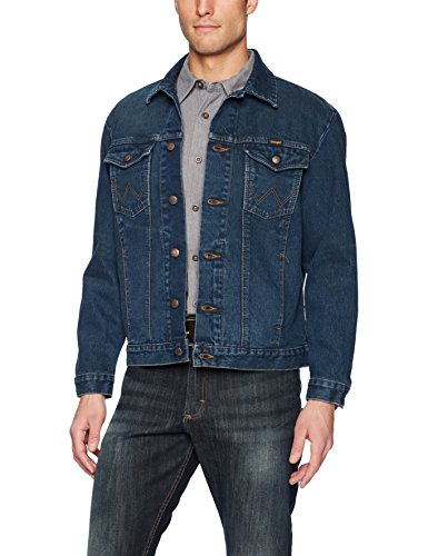 Wrangler Men's Western Style Unlined Denim Jacket, Dark Blue, Large