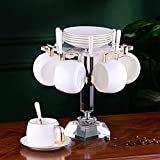 Tea Table Teapot Sets,Tea Set Handmade Chinese,Porcelain Teapot,Tea Cups, High-End Coffee Cup And Saucer European Simple Cup Holder, Home Nordic Afternoon Tea Set (Color : E, Size : 6 Sets) Perfect G