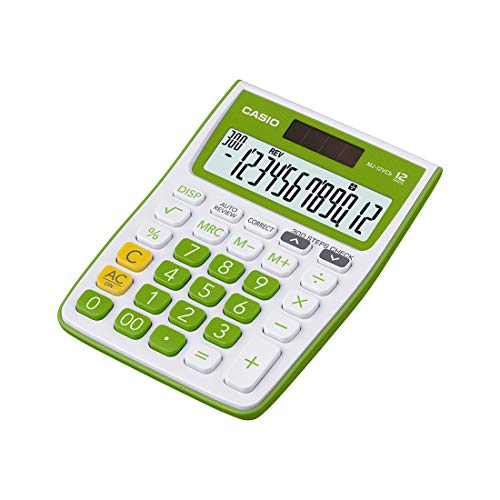 Casio MJ-12VCb-GN 300 Steps Check & Correct Colourful Desktop Calculator (Green)