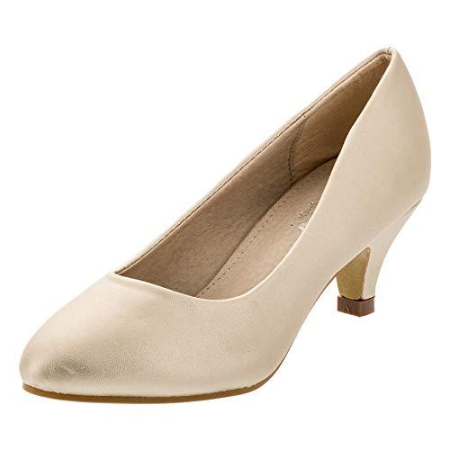 Festliche Mädchen Pumps Ballerina Schuhe Absatz Glitzer in vielen Farben M342go Gold 29